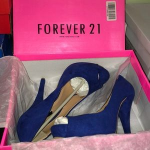 Forever 21 peek toe royal blue heels